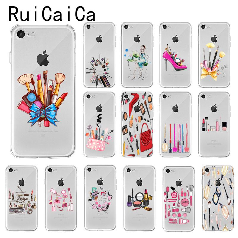 Ruicaica Vogue Cosmetic Makeup Fashion DIY Painted Phone Case Cover for iPhone 8 7 6 6S