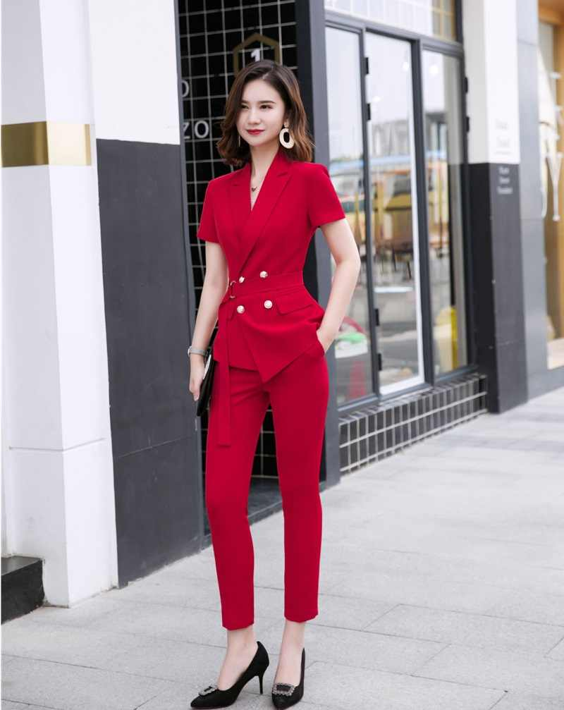 Novelty Red Formal Business Suits With Jackets And Pencil Pants OL Styles Summer Work Wear Blazers Ladies Pantsuits Pants Suits