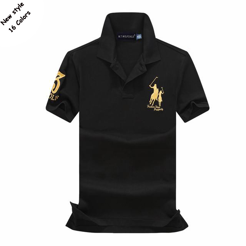 Fashion 2018 Summer embroidery horse mens short sleeve   polos   shirts cotton mens lapel   polos   tops slim mens with   polos   16 colors
