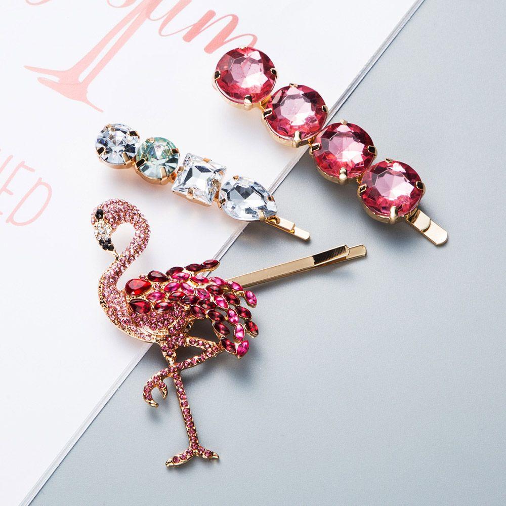 New Unique Fashion Flamingo Rhinestone Bling Pink Hair Clip Hair Grip Barrettes Hairpin Hair Accessories For Women Girls