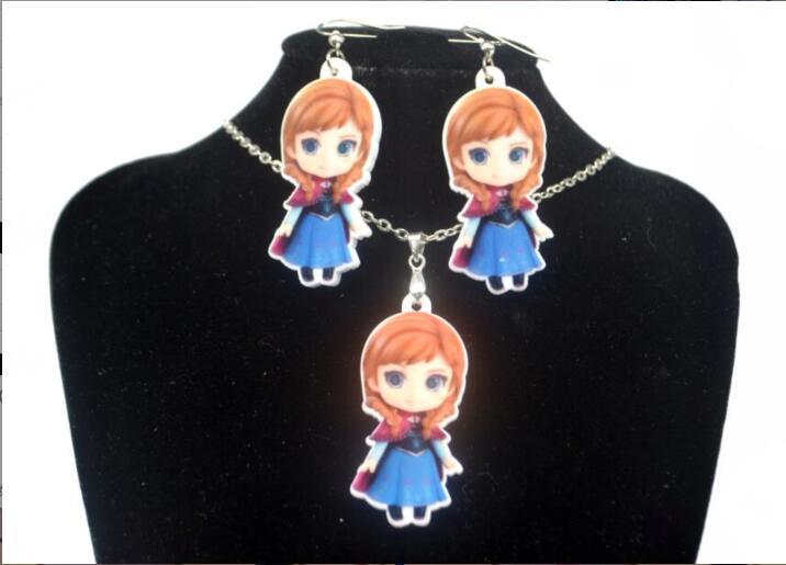 1 комплект DIY мультфильм принцесса акриловый Детский комплект украшений для детей цепочка ожерелье серьги-подвески висячие серьги аксессуа...