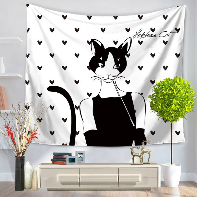 Home Decorative Wall Hanging Carpet Tapestry Rectangle Bedspread Cat Girl Pattern GT1027