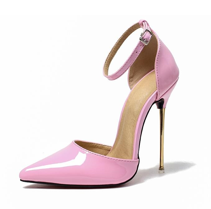 Pink Patent Leather Metal Heels Pumps Pointed Toe Ankle Strap High Heel Dress Shoes Sky High 13CM Heels Night Blub Pumps 2018 women yellow high heel pumps pointed toe metal heels wedding heel dress shoes high quality slip on blade heel shoes