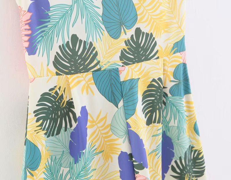 Women Tropical Print Summer Jumpsuit Deep V Neck Bow Straps Sleeveless Upper Wide Leg Pants Causal Wear Summer Mujer Vestidos