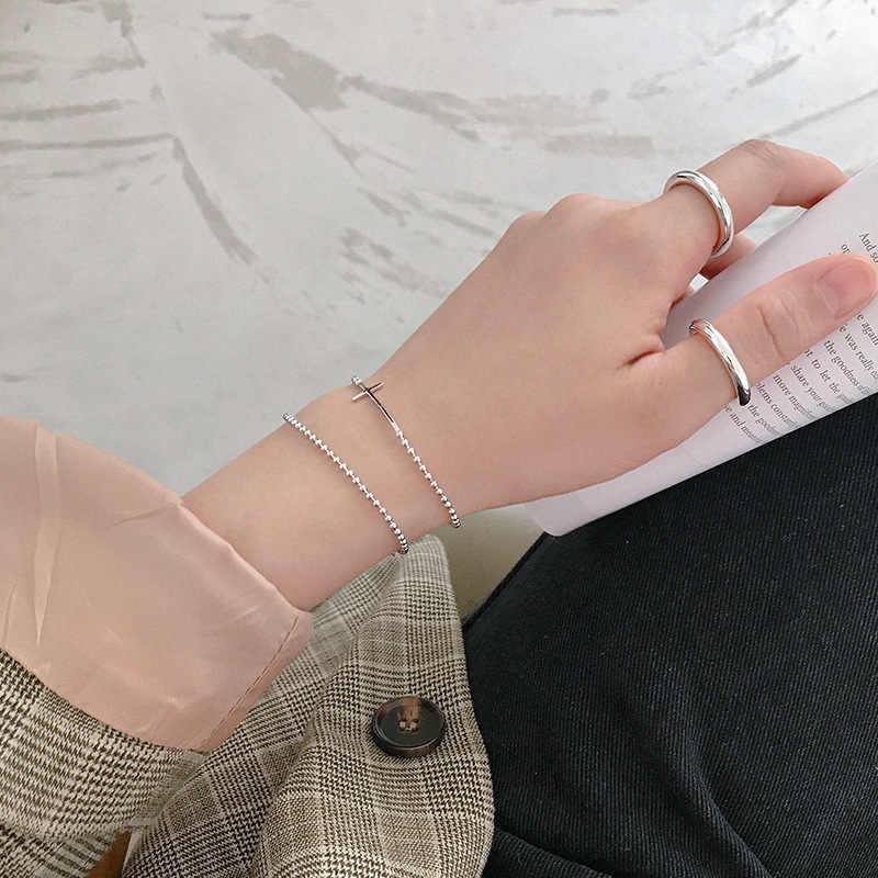 Thật Nữ Bạc 925 Vòng Tay Cho Nữ 2019 Hạt Dây Chuyền Vòng Tay Lắc Tay Bạc Trang Sức pulseras plata de ley 925 mujer