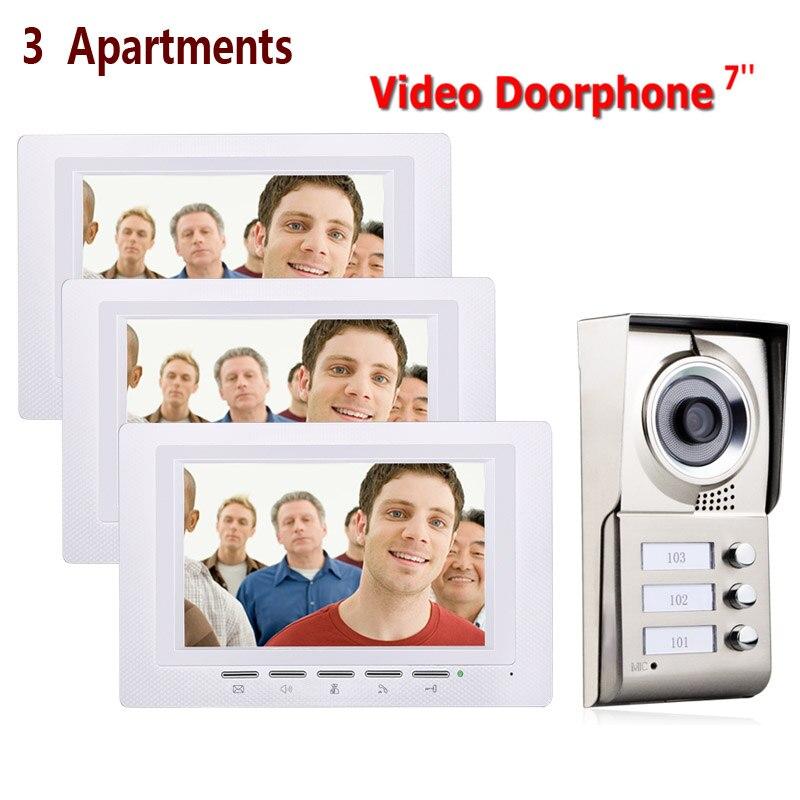 7inch 3 Apartments Video Door Phone Intercom System IR-CUT HD 1000TVL Camera Doorbell Camera With 3 Button 3 Monitor Waterproof