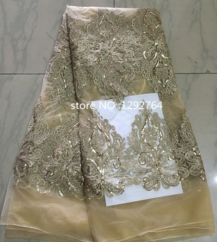 2016 Latest gold and sequins African French net Lace Fabric with sequins,High Quality African wedding Tulle Lace Fabric 5yards.