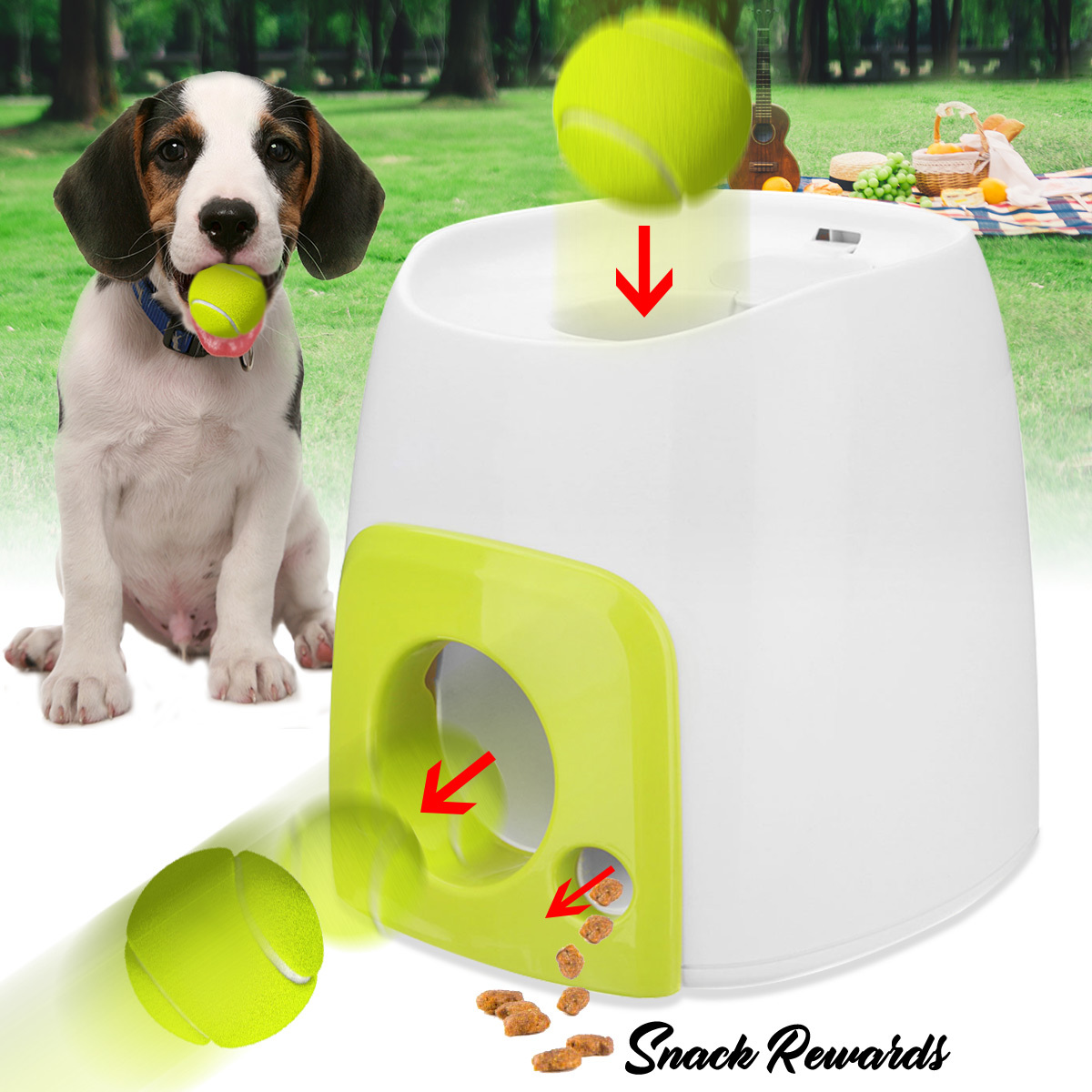 Nicrew Pet Dog Toy Automatic Interactive Ball Launcher Tennis Ball Rolls Out Machine Launching Fetching Balls Dog Training ToolNicrew Pet Dog Toy Automatic Interactive Ball Launcher Tennis Ball Rolls Out Machine Launching Fetching Balls Dog Training Tool