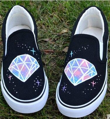 Harajuku White Sport Shoes Women Hand-Painted Canvas Shoes Cartoon Casual Board Shoes Rihanna Summer Loafers Nmd Sapato Feminino