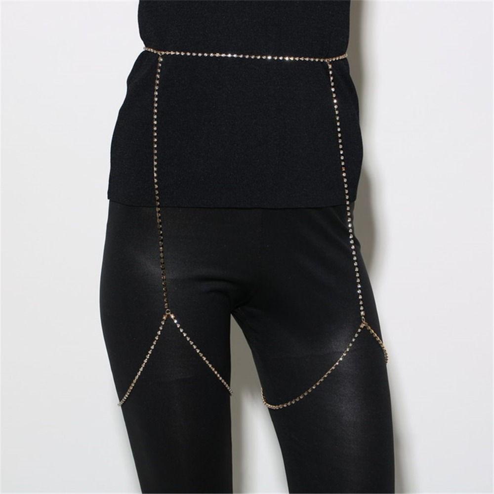 Sexy Bondage Beach Crystal Rhinestone Women Waist Belly -7667