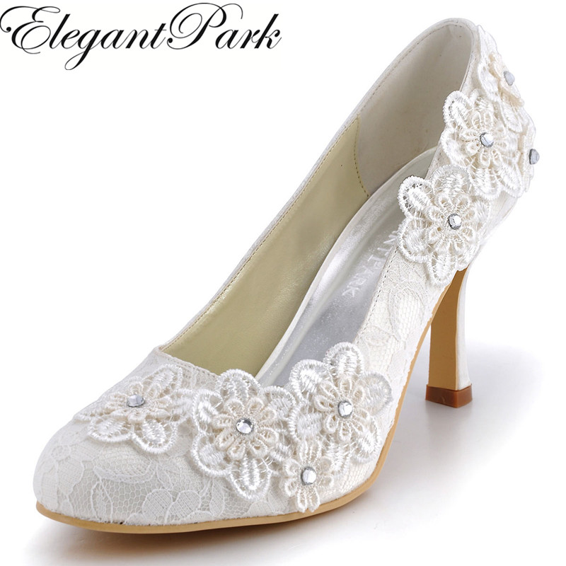 Women Shoes EP11099 Ivory Round Toe High Heels Appliques Lace bride Lady Pumps Woman Wedding Shoes Bridal Pumps 2017 shoes women med heels tassel slip on women pumps solid round toe high quality loafers preppy style lady casual shoes 17