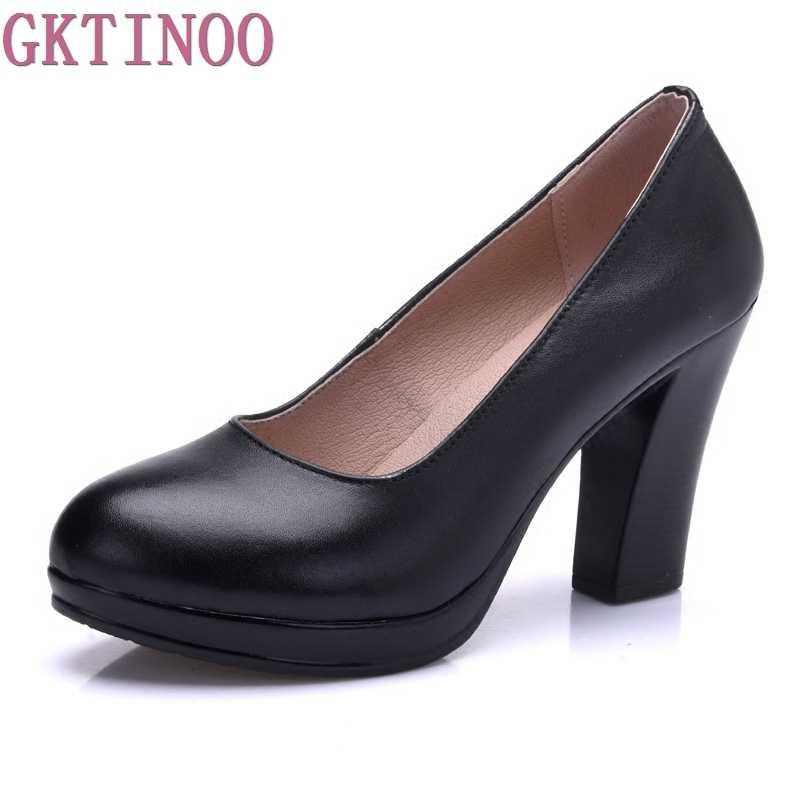 Chính hãng giày Da Phụ Nữ Vòng Toe Bơm Sapato feminino Cao Gót Nông Thời Trang Làm Việc Đen Giày Cộng Với Kích Thước 33-43