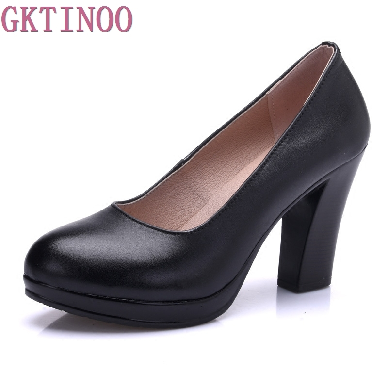 Genuine Leather Shoes Women Round Toe Pumps Sapato Feminino High Heels Shallow Fashion Black Work Shoe Plus Size 33-43