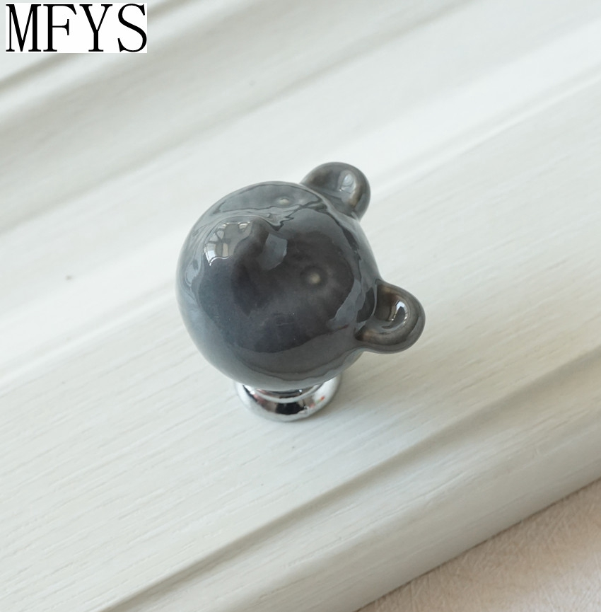 Ceramic Bear Knobs Drawer Knobs Colorful Knobs For Children Dresser Cabinet  Knobs Blue Red Pink Kitchen Cupboard Handle Decor In Cabinet Pulls From  Home ...