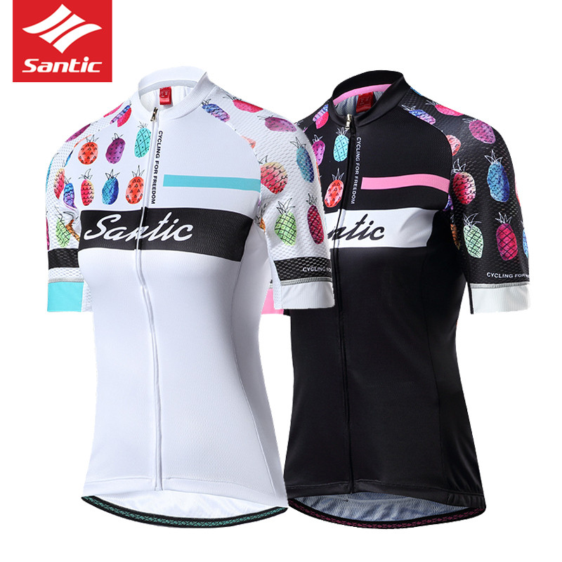 2018 SANTIC New Summer Bike Cycling Jersey Women Short Sleeve Pineapple  Downhill Bicycle MTB Lady Clothing Pro Team Clothes Hot 9f062fb98
