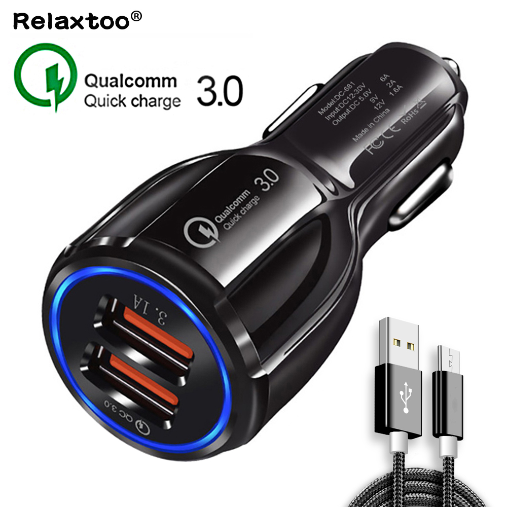 Quick Charge 3.0 2 ports car charger Dual charging micro usb Mobile phone cable For iphone 7 Samsung Huawei xiaomi Fast charger