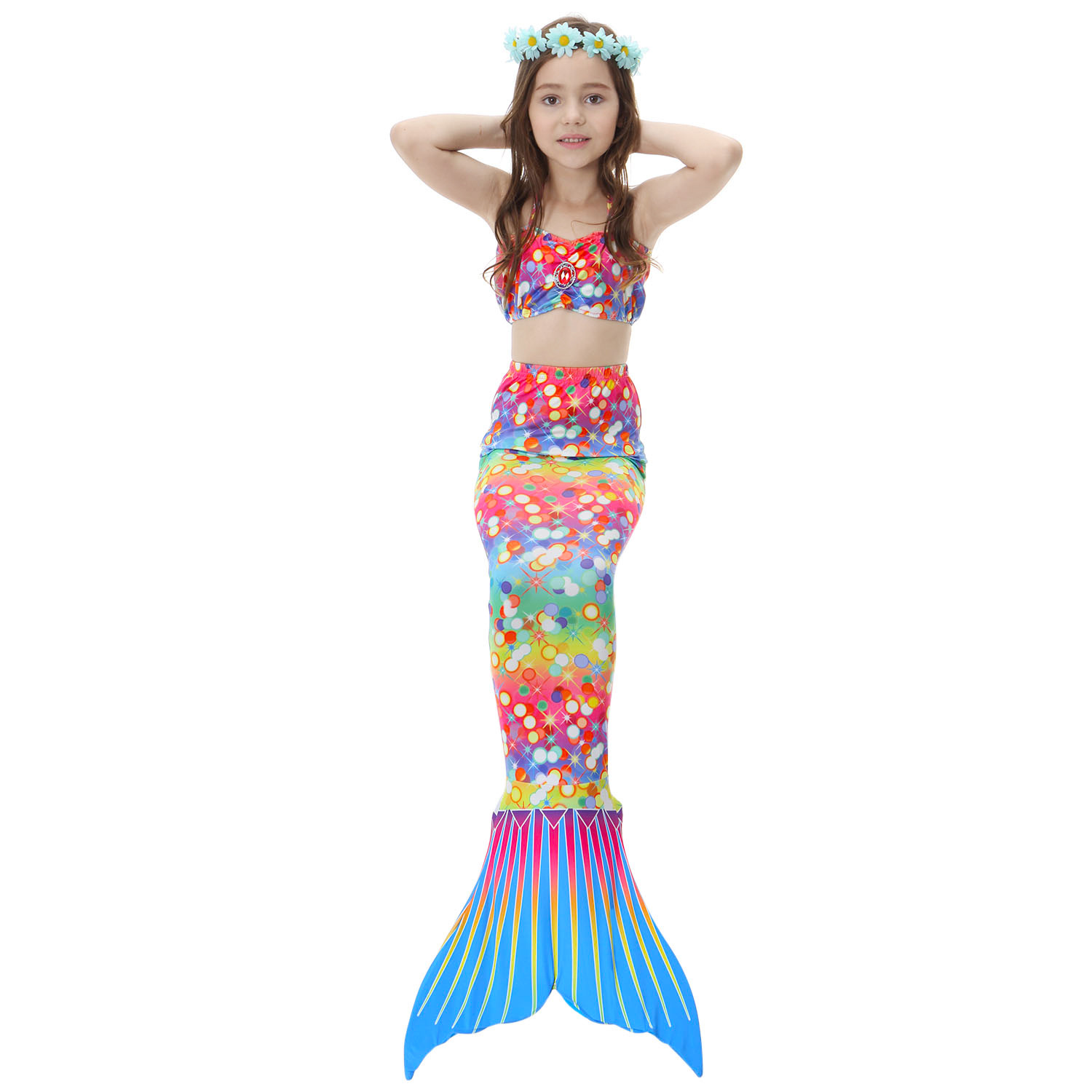 Hot Sale Cosplay Costume Kids Girl Adult Women Mermaid Tail Swimsuit  Tail Swimwear One Sets New Without Monofin