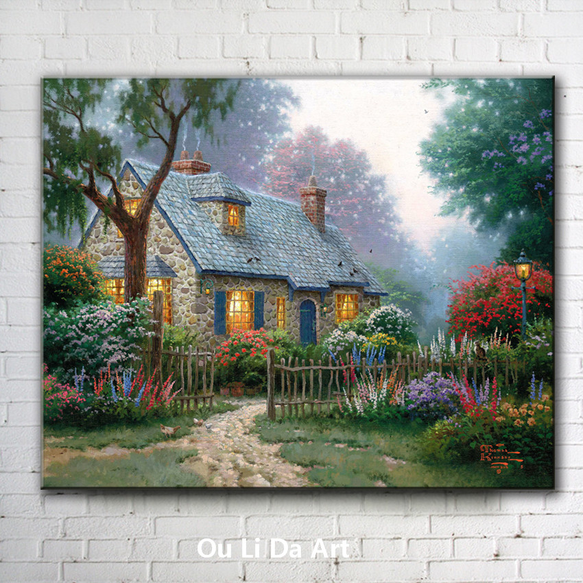 classical Thomas house light garden tree landscape canvas prints oil painting printed on canvas wall art decoration picture