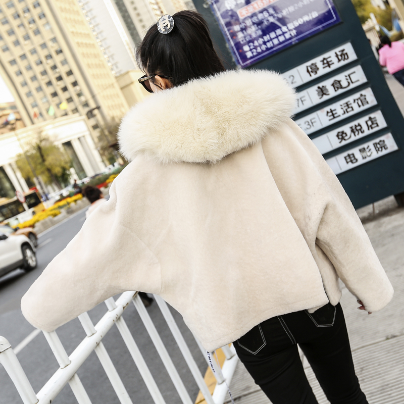 Hiver De 2018 Cuir Peau À Zt1559 Véritable Beige Fourrure Capuchon Coréen Mouton Vêtements En Manteau Femmes Veste Renard Automne dOq0ad