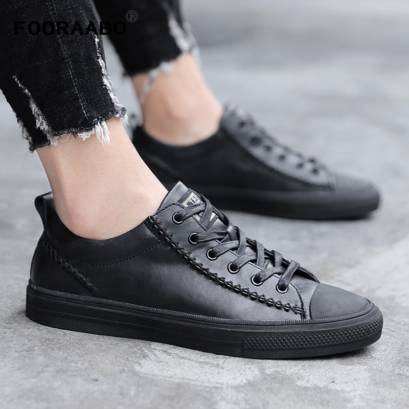 где купить 2018 Designer Sneakers Men Casual Shoes Spring Autumn Mens Genuine Leather Sneakers Fashion Shoes Lace-Up Flats Male Footwear по лучшей цене