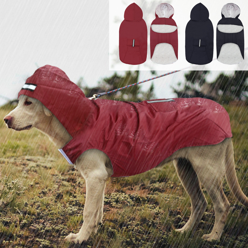 Pet Large Dog Raincoat Waterproof Big Dog Clothes Outdoor Coat Rain Jacket For Golden Retriever Labrador