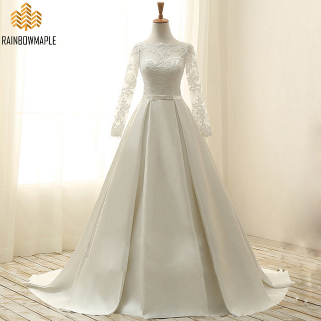 6796f318de Vintage Ivory Long Sleeves Satin Wedding Dresses Elegant Scoop Corset Back  Lace Wedding Dress For Women Ivory Bridal Gowns