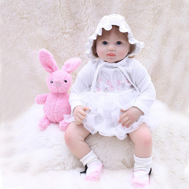 Baby Reborn Doll 48cm New Handmade Silicone Reborn Baby Adorable Lifelike Toddler Girl Kid Silicone Doll curly hair cute girl doll 56cm 22 handmade new fashion silicone reborn doll vinyl lifelike toddler baby bonecas kid doll reborn