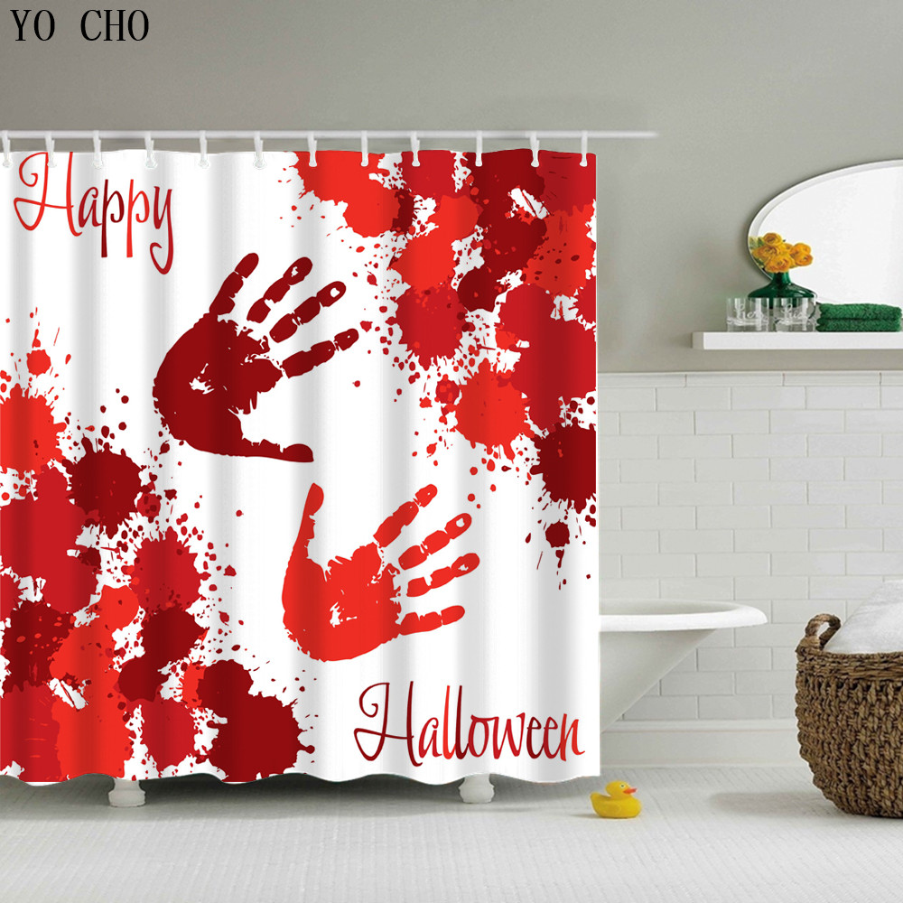 Buy blood hand shower curtain and get free shipping on for Best place to buy fabric for curtains
