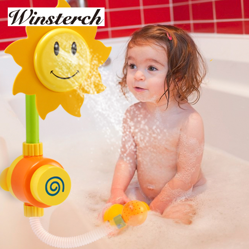 Baby Bath Toys Children Sunflower Shower Faucet Bath Learning Gifts Bathroom Bathtub Toy ...