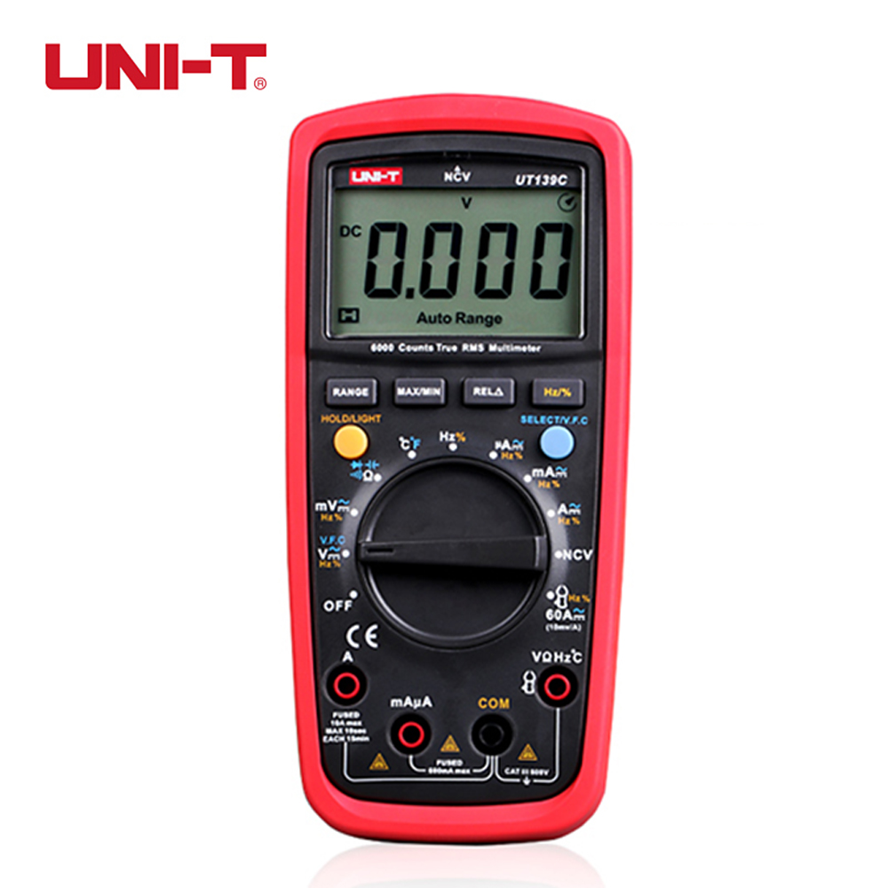 UNI-T UT139C True RMS Digital Multimeter Handheld Electrical LCR Voltage Current Meter Tester Multimetro Ammeter Multitester uni t ut139c true rms 2 6 lcd digital multimeter electrical handheld tester multimetro lcr meter ammeter multitester