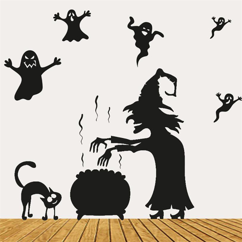 Stickers on the wall New Arrived Happy Halloween Wall Sticker Window Home Decoration Defor Bedroom Living Room Walls    X0813#30