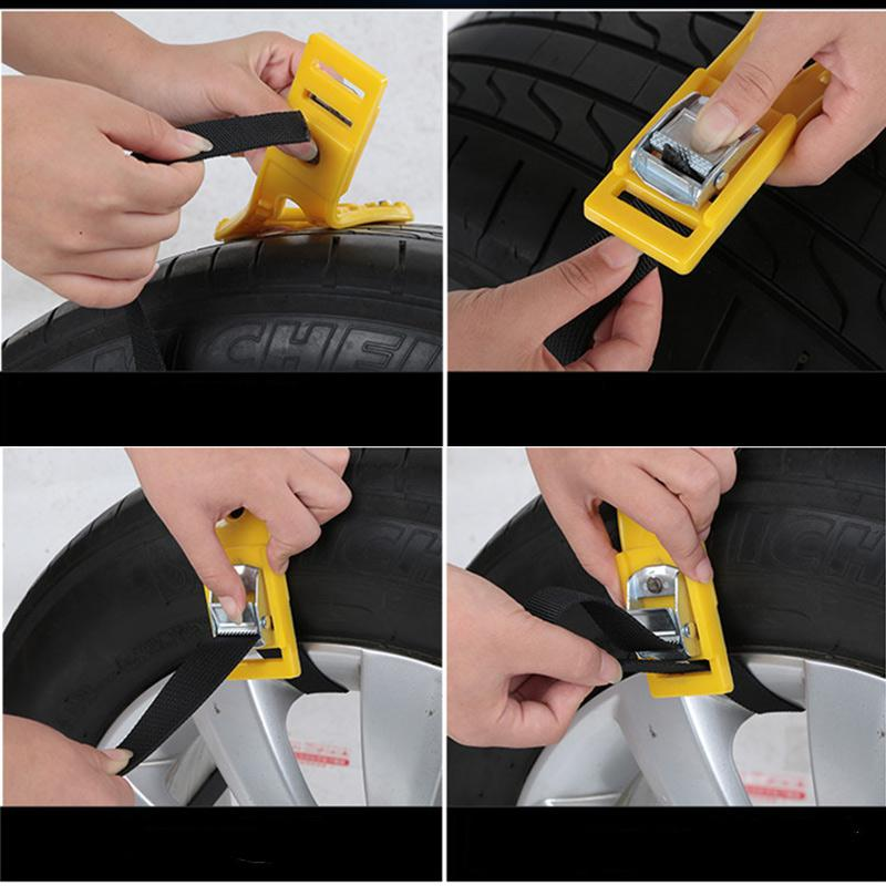 New Car Vehicle Truck Off-Road Safety Tire Anti-skid Snow Chain Belt Universal Yellow
