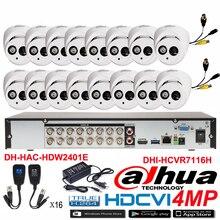 Original DAHUA 4MP Waterproof Camera DH-HAC-HDW2401E CVI Dome camera with 16CH Digital CVR DHI-HCVR7116H security camera kit