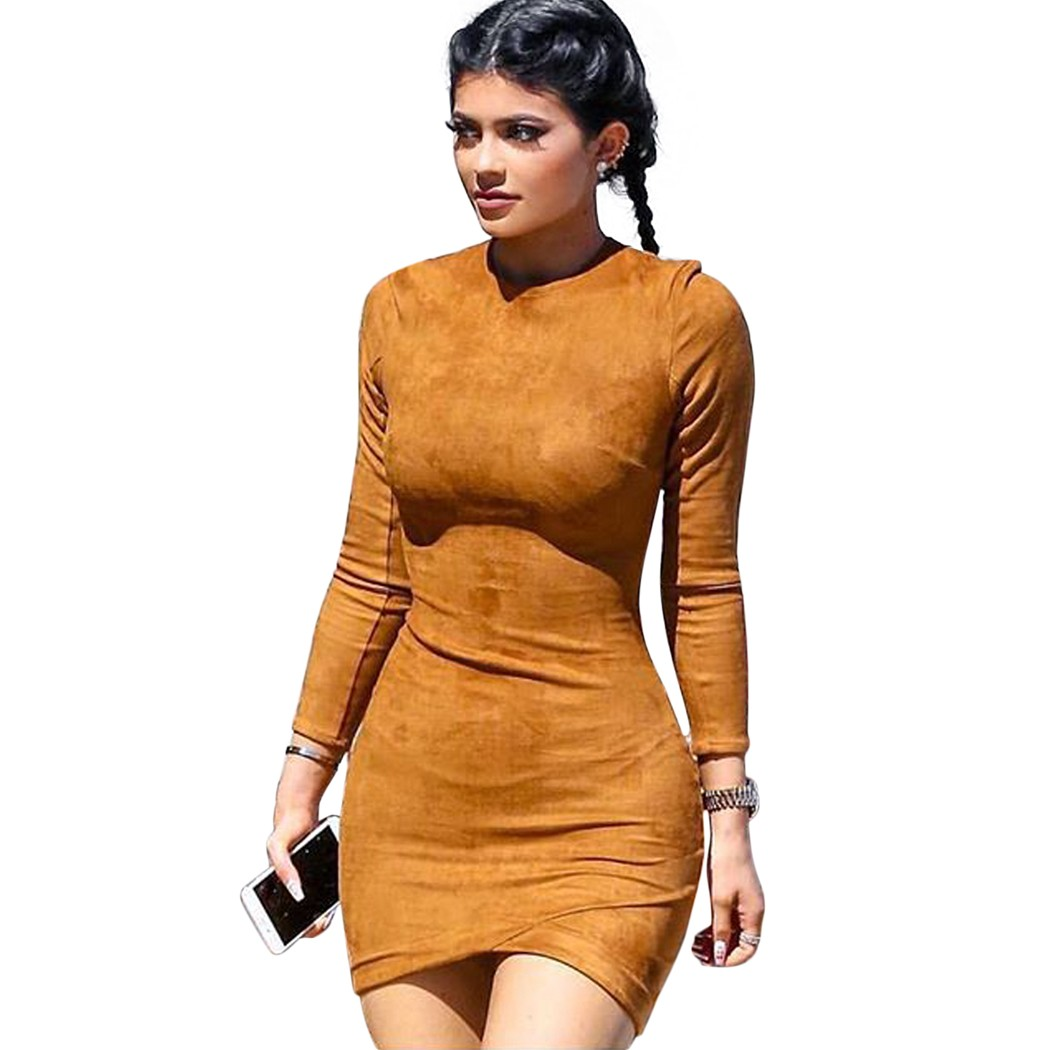 faux suede vintage bodycon solid leather dress women casual long