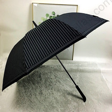 112cm anti-thunder solid rubber business straight black coating 5 times anti-uv umbrella antique anti-skidding stripe parasol