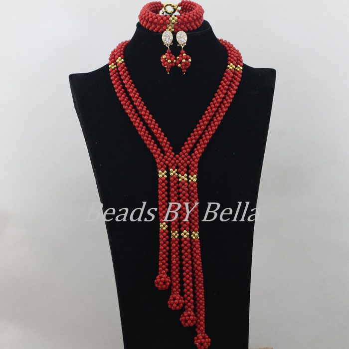 Handmade Fashion Red Coral Beads Jewellry Sets Women Necklace Nigerian Wedding African Beads Jewelry Set Free Shipping ABF580Handmade Fashion Red Coral Beads Jewellry Sets Women Necklace Nigerian Wedding African Beads Jewelry Set Free Shipping ABF580