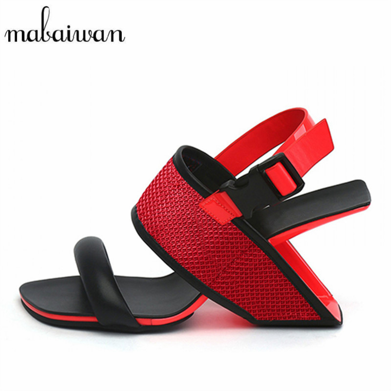 Mabaiwan Red Strange Heel Women Sandals Summer Gladiator Sandal Wedge Shoes Woman Wedding High Heels Valentine Shoe Stiletto women s valentine wedge high heeled
