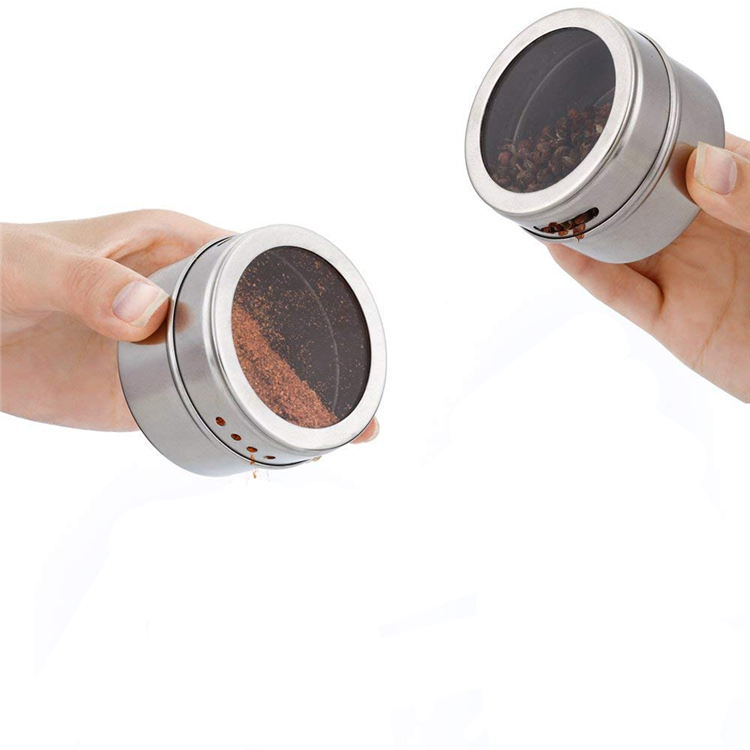 LMETJMA Magnetic Spice Jar Set With Stickers Stainless Steel Spice Tins Spice Storage Container Pepper Seasoning Sprays Tools 15