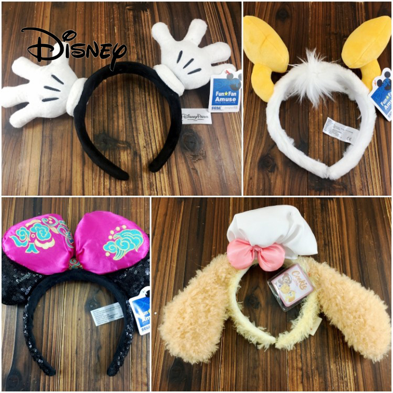 Disney 3D Headband Accessories Mickey Mouse Donald Duck Cartoon Stereo Hair Buckle Plush Hair Bands Girls Party Birthday Gifts