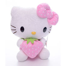 Hot Selling Adorable Plush Pink bowknot Dress Sit Hello Kitty Plush Doll Toy with Strawberry Hello
