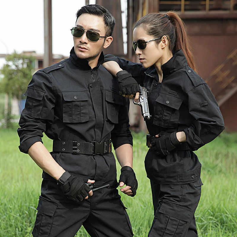 黒狩猟服男性軍服狩猟服タクティカルコンバット + カーゴパンツ屋外軍の Ghillie スーツ女性