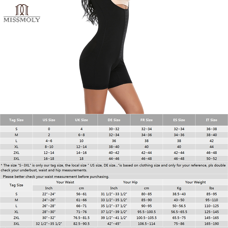 c09b4f66de4a4 Miss Moly Shapewear COLOMBIANAS Women Full Body Shaper Fajate Post Surgery  Liposuction Garment Underwear Waist Slimming X