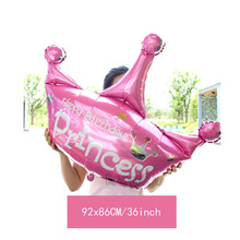 1pc Large Pink Blue Helium Ballon Prince Princess Crown Foil Balloons Happy baby Birthday Party wedding decoration adult globos
