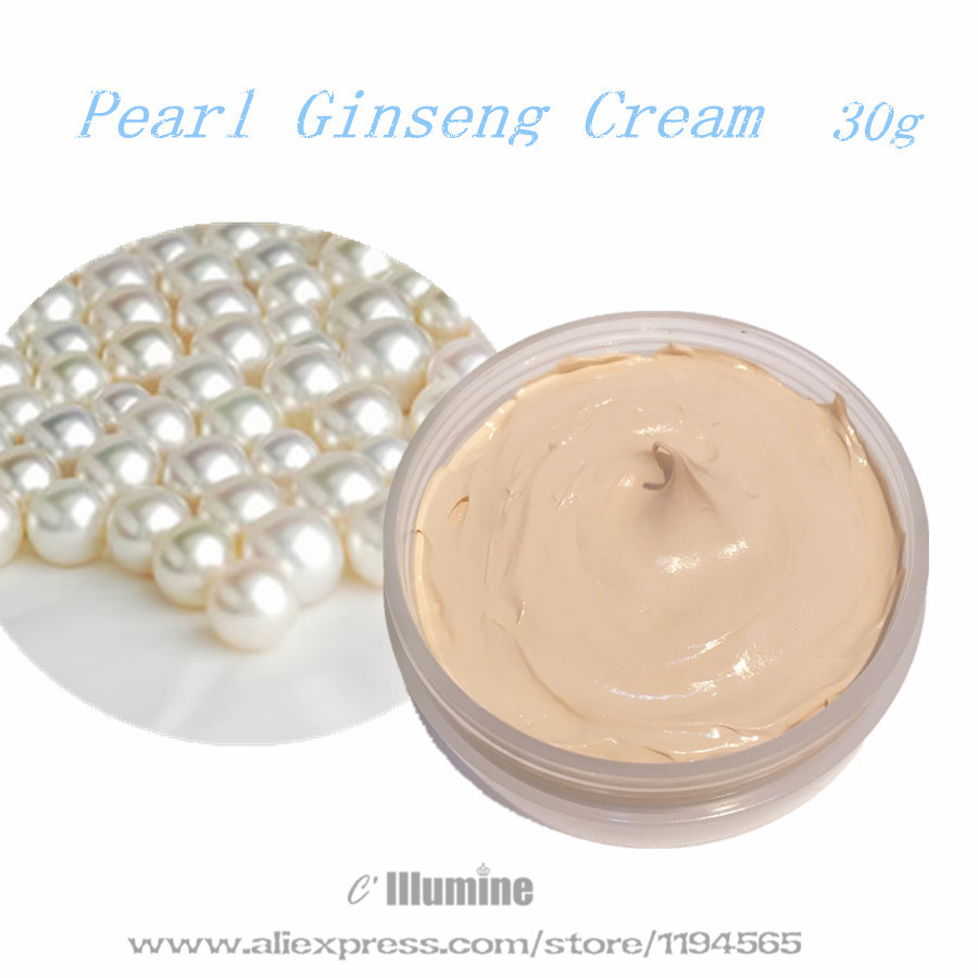 30g Pearl Day Cream Concealer Natural Foundation Makeup Base Ginseng Whitening Brightening  Whitening Skin Care Products