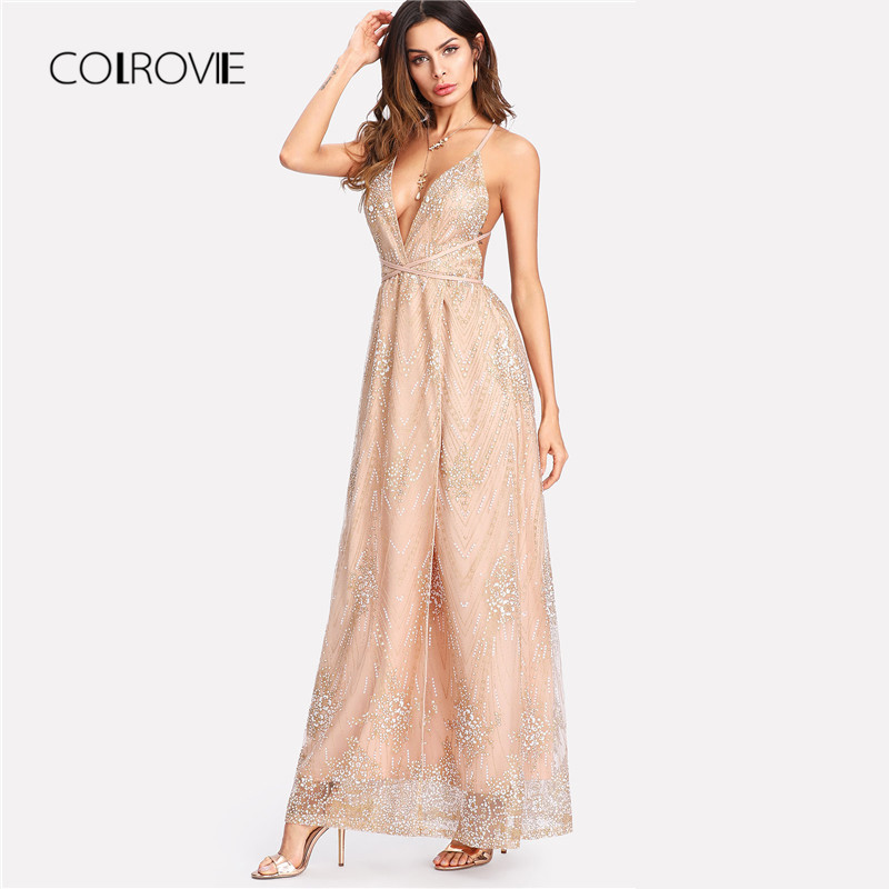Detail Feedback Questions about COLROVIE Past Elegant Sequin Mesh Backless High  Waist Party Dress V Neck Sleeveless Sexy Maxi Dress 2018 Autumn Women Dress  ... ec7b1c6bde40