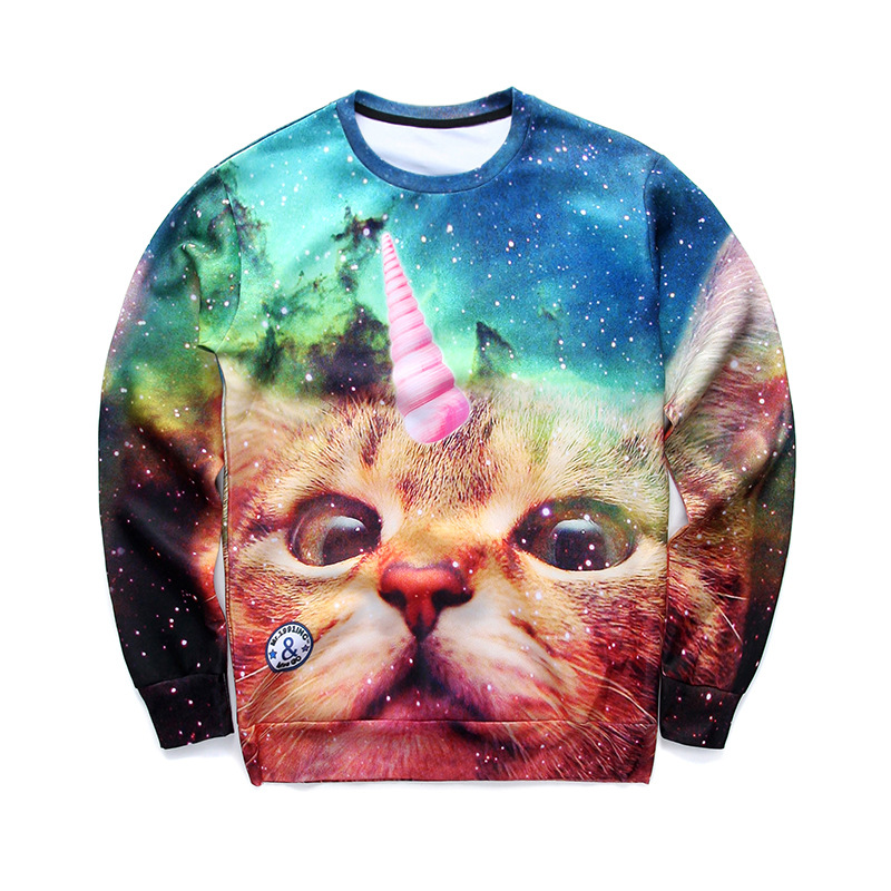 2018 Printed cute cat 0-neck Starry sky gorgeous 3d digital printing hoodies free shipping hot