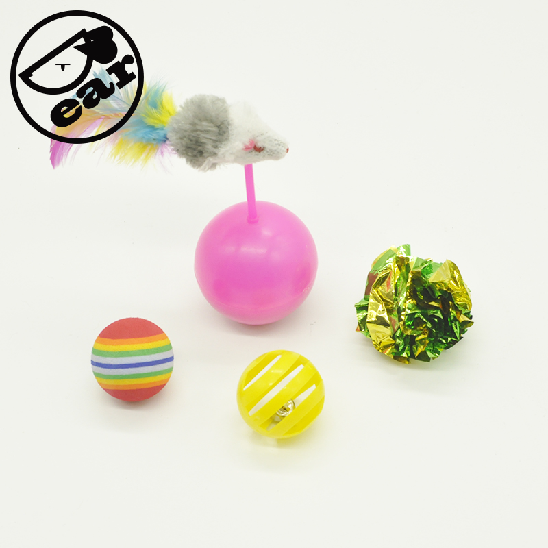 4pcs/lot Cat Tumbler Toy Teaser with Crinkle ball Cat Toys Variety Pack for Kitty