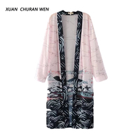 XUANCHURANWEN Moda Largo Kimono Estampado Floral Elegante Cardigan Protector Solar Verano Blusa Suelta de Manga Larga Mujeres DD76038