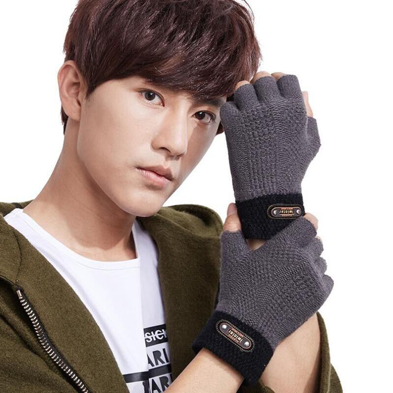 Half Finger Gloves Men Women Winter Korean Version