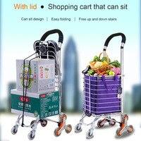 Foldable Aluminum Alloy Shopping Cart Portable Climbing Trolley Luggage Cart Large Capacity Supermarket Shopping Cart